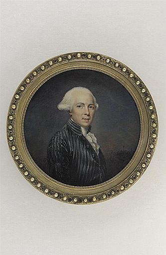 HENARD Charles : Portrait d'homme portant un habit bleu-vert à raies blanches