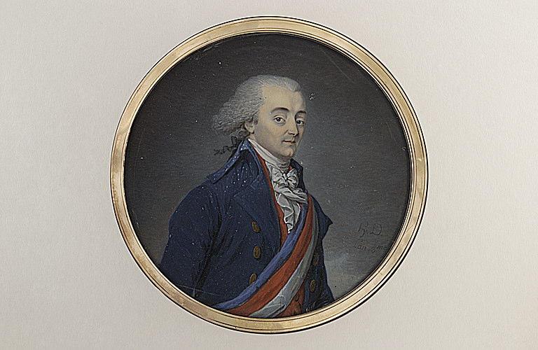 Portrait d'homme, vêtu d'un uniforme bleu