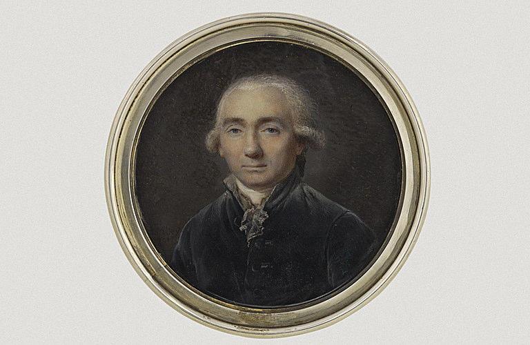 ISABEY Jean-Baptiste : Portrait d'un homme âgé, portant un habit gris-taupe