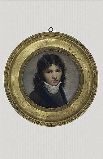 ISABEY Jean-Baptiste (attribué à) : Portrait de jeune homme portant un gilet et un habit noir