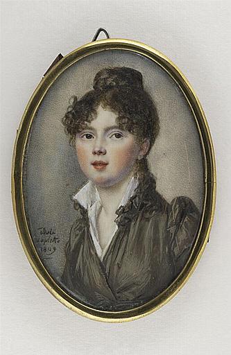 LAPLATTE Adèle : Portrait de jeune femme, en buste, portant une robe gris-brun