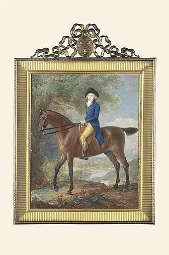 LAURENT Jean Antoine : Portrait de cavalier en habit bleu roi, et portant un grand feutre