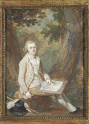 LAURENT Jean Antoine : Portrait d'un artiste assis dans un paysage boisé