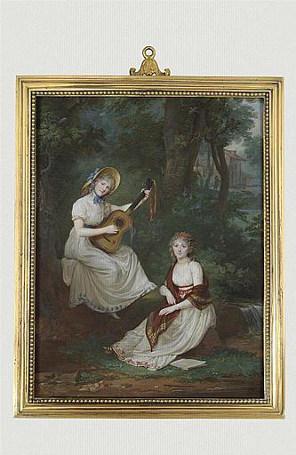 Les Demoiselles de Tourzel, assises près d'un ruisseau