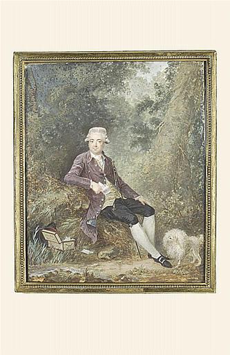 Le Baron de Montigny, assis sur un rocher