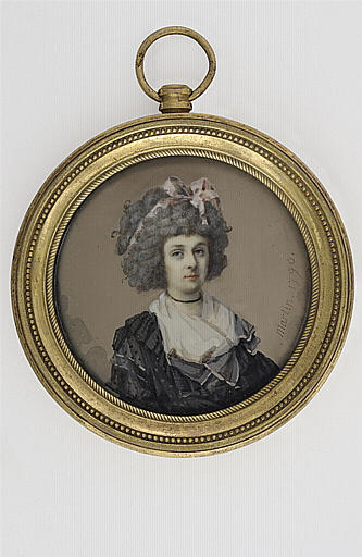 MARTIN Antoine : Portrait de femme, en buste, portant une robe de tulle noir
