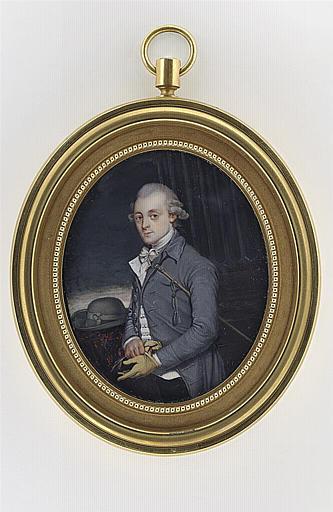Portrait d'homme debout, en habit gris-perle et culotte de velours noir