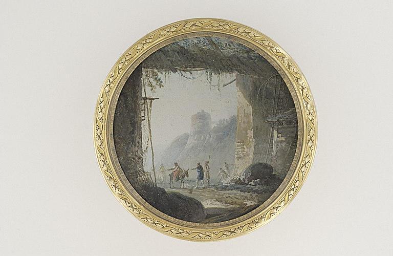 MOREAU Louis Gabriel l'Aîné : Le portique : plusieurs personnages pénètrant sous un portique