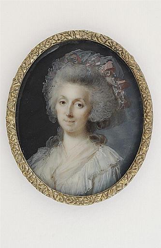 MOSNIER Jean Laurent : Portrait de femme âgée, une coiffe de dentelle et le fichu Marie-Antoinette