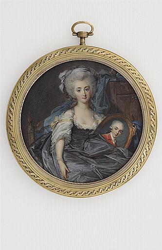 MOSNIER Jean Laurent : Jeune femme tenant un portrait