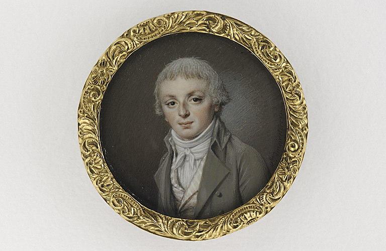 NOIRETERRE Marie Thérèse : Portrait de jeune homme en costume gris et gilet à rayures