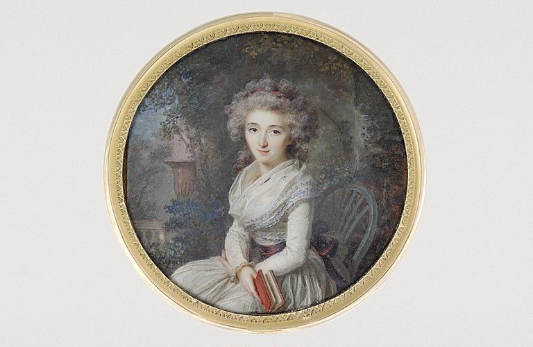 PERIN-SALBREUX Lié Louis : Portrait de femme assise dans un parc, tenant un livre