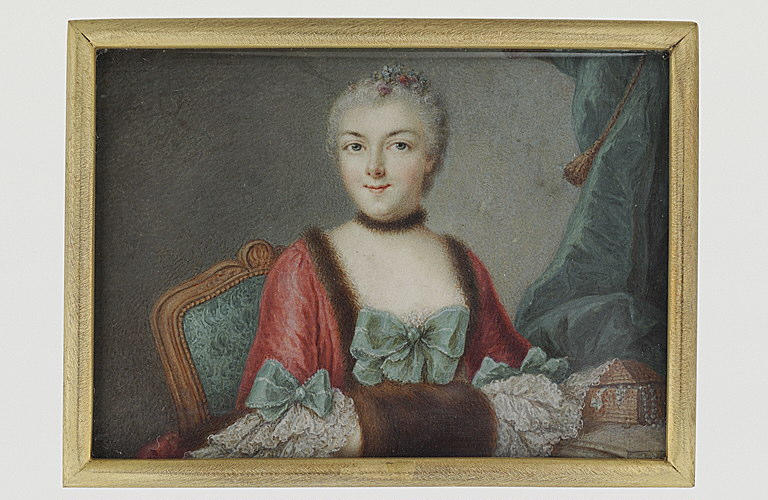 PETERS Jean Antoine de : Portrait de femme assise, portant une robe rouge bordée de fourrure