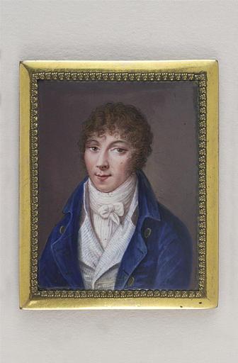 ADAM Isaac : Portrait d'homme en habit bleu et gilet blanc rayé bleu