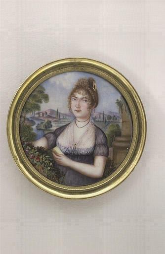 ADAM Isaac : Portrait de jeune femme en robe décolletée à fichu de mousseline
