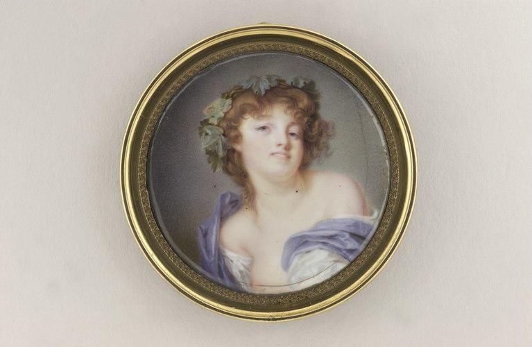AUGUSTIN Jean-Baptiste Jacques, GREUZE Jean-Baptiste (inspiré par) : Jeune femme en bacchante