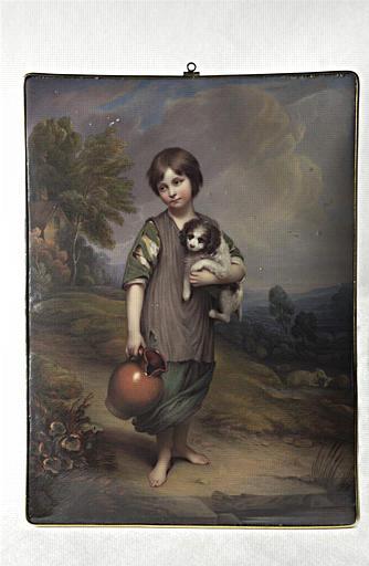 Jeune paysanne tenant une cruche et un petit chien