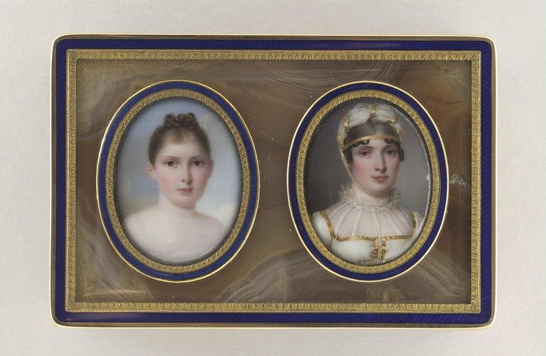 COUNIS Salomon Guillaume : Portraits : Marie-Anne Elisa Bonaparte et sa fille Napoléone Elisa Bacciochi
