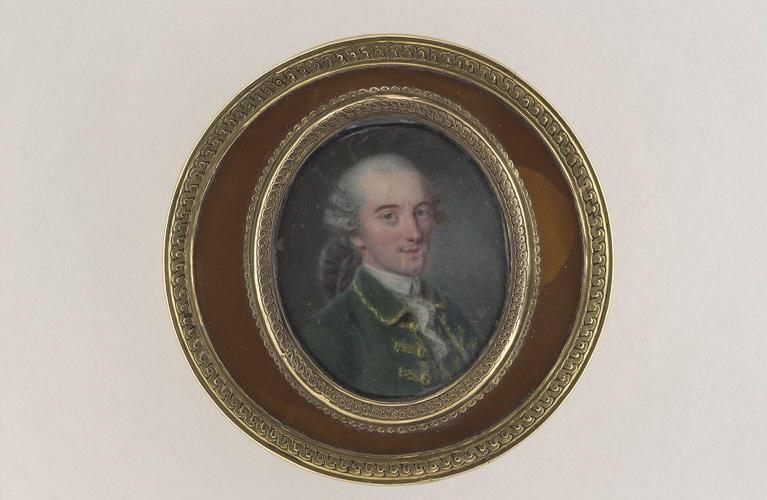 COURTOIS Nicolas André : Portrait d'homme en habit de velours vert brodé d'or