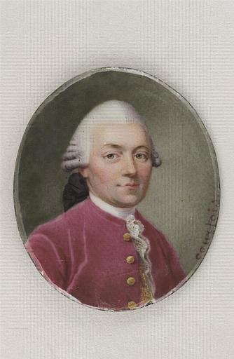 COURTOIS Nicolas André : Portrait d'homme en habit rose à cravate de dentelle