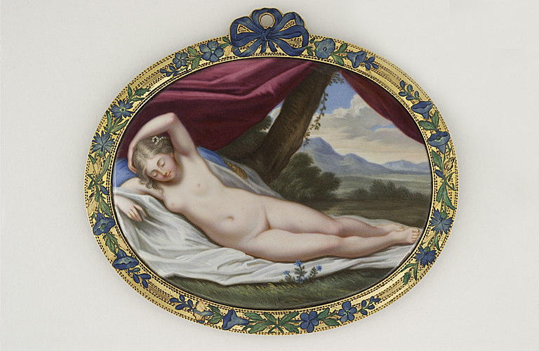 anonyme : Vénus endormie, étendue sur une draperie blanche