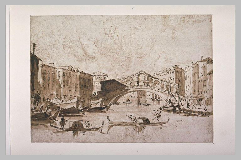 Vue du grand canal et du pont du Rialto, à Venise