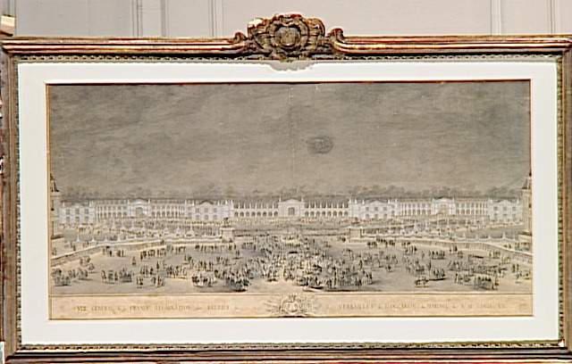 Vue générale de la grande illumination des écuries de Versailles ; Vue de la grande illumination des Ecuries de Versailles à l'occasion du mariage du Dauphin Louis, fils de Louis XV, avec Marie-Josèphe de Saxe, nuit du 9 février 1747 (autre titre)_0