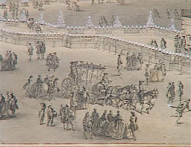 Vue générale de la grande illumination des écuries de Versailles ; Vue de la grande illumination des Ecuries de Versailles à l'occasion du mariage du Dauphin Louis, fils de Louis XV, avec Marie-Josèphe de Saxe, nuit du 9 février 1747 (autre titre)