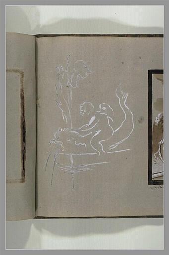 OUDRY Jean-Baptiste : Esquisses d'une fontaine et d'un amour chevauchant un dauphin