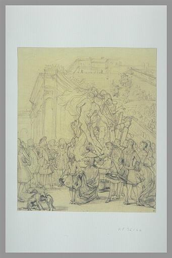 Etude pour Puget présentant son Milon de Crotone au roi Louis XIV_0