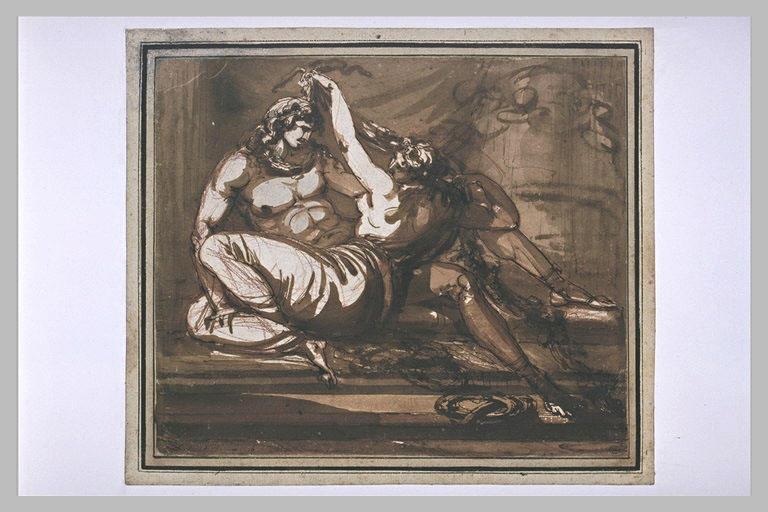 Dalila coupant les cheveux de Samson