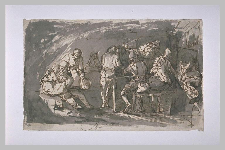 Scène de taverne d'après Ostade
