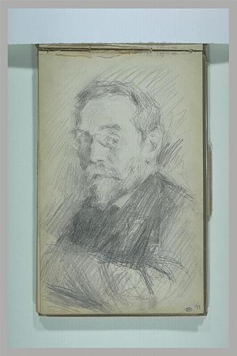 anonyme : Portrait d'homme vu en buste, avec un lorgnon