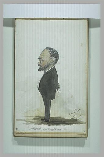 DURUY Marie : Portrait charge d'un homme debout, de profil à gauche