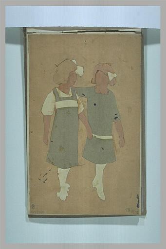 anonyme : Deux silhouettes de fillettes découpées