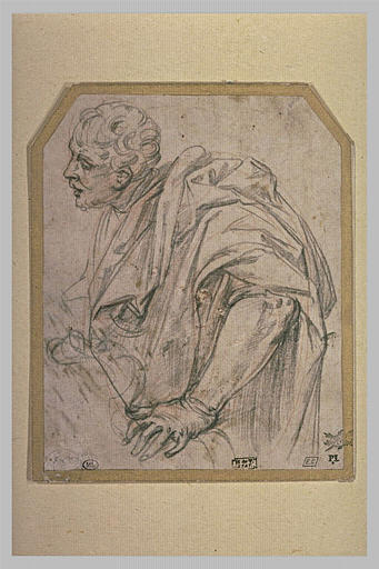 Homme drapé, en buste, de trois quarts à gauche
