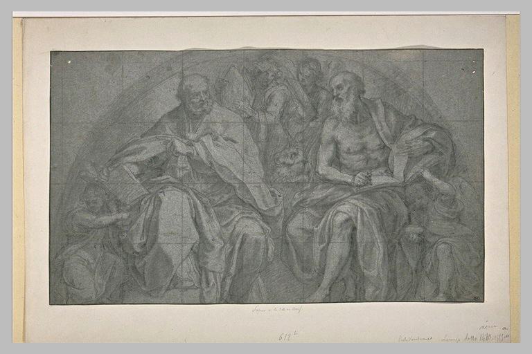 Projet de lunette avec saint Jérôme et un autre saint