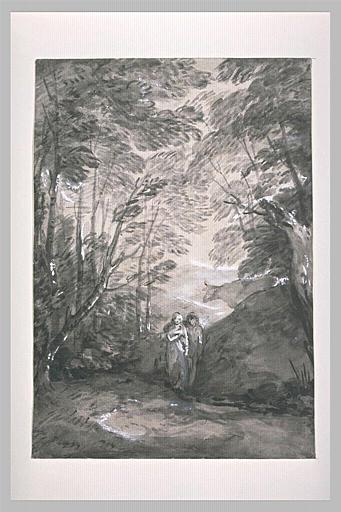 Paysage de forêt avec un couple d'amoureux dans un chemin