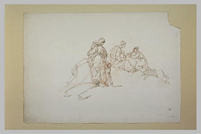 Femmes et enfants dans un paysage