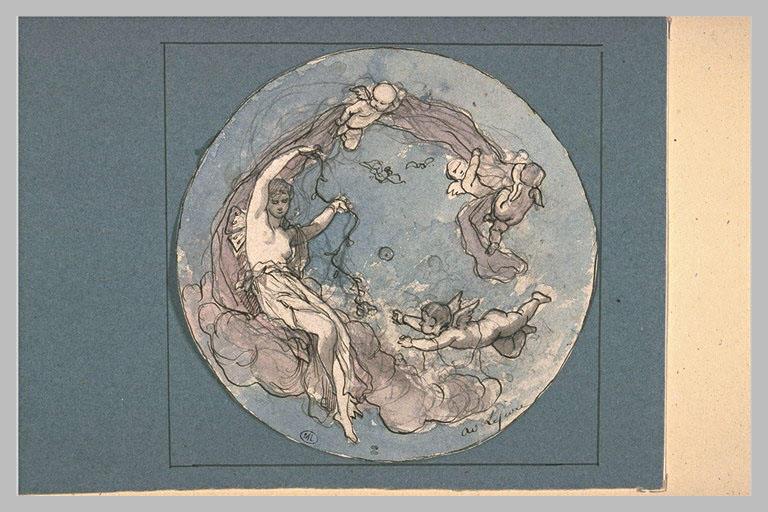 LEFEVRE Adolphe René : Projet pour un médaillon avec Psyché et l'Amour