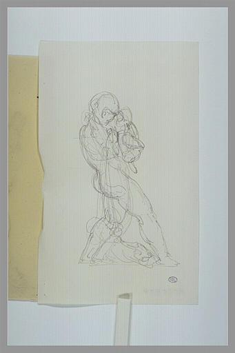 GUILLAUME Jean-Baptiste Claude Eugène : Silène tenant l'enfant Bacchus de profil à droite
