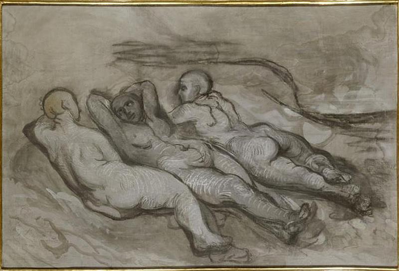 Etude de trois femmes nues couchées au pied d'une falaise