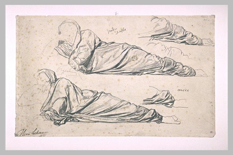 Etudes d'un personnage drapé, étendu, s'appuyant sur son bras gauche_0