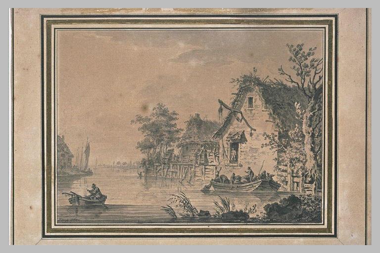 Paysage avec un homme au gouvernail dans une barque sur une rivière_0