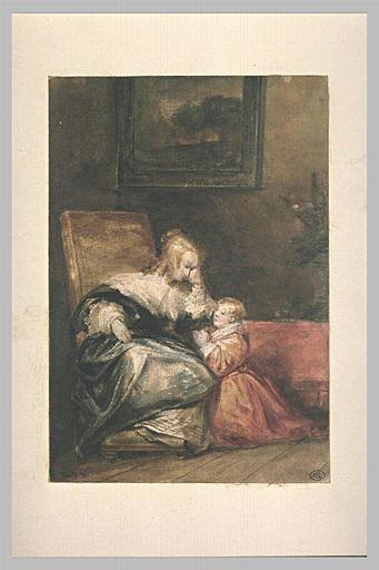 Enfant disant la prière auprès d'une femme assise
