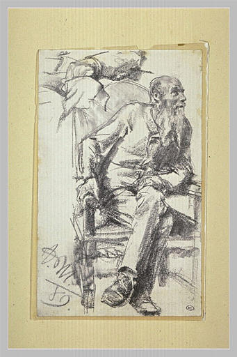 Portrait d'homme assis dans un fauteuil et reprise d'une main