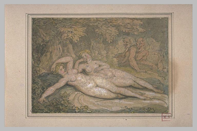 Deux nymphes endormies, épiées par deux satyres