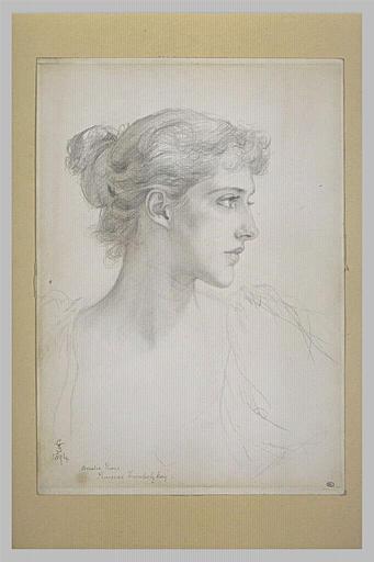 Portrait de la princesse Troubetskoy en buste, de profil vers la droite