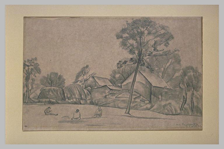 Trois personnages dans un paysage