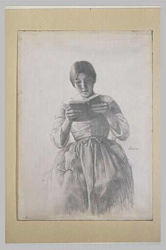 Jeune femme lisant, assise, vue de face